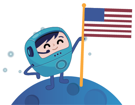 Cosmo planting United States flag